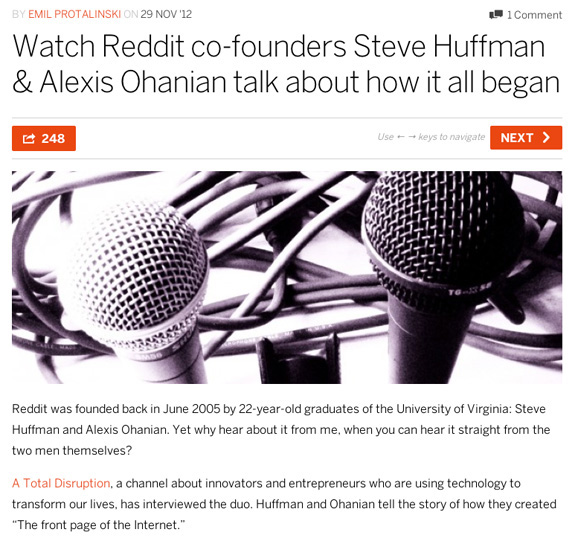 The Next Web features ATD's Reddit founders video